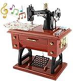 Agatige Caja de música Retro, Mini Caja de música, máquina de Coser, Caja Musical, decoración de Mesa de Regalo para mamá y mamá