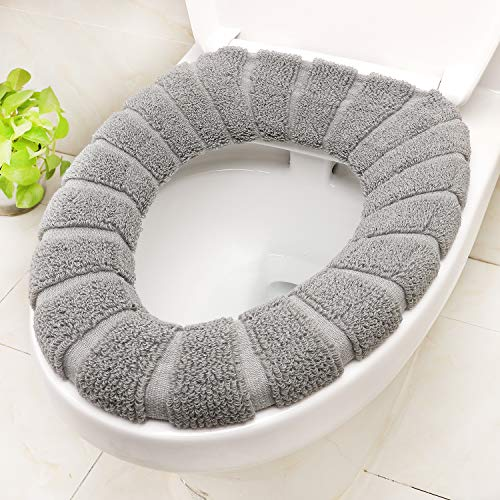 SENOMOR Toilet Seat Cover, Bathroom Soft Thicker Warmer Stretchable Washable Easy Installation & Cleaning Comfortable Cloth Toilet Seat Cover Pads (Light Grey)