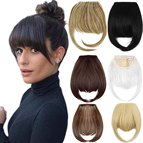 Clip in Bangs Hair Extensions 8' Thick Full Neat Bangs Fringe Hair Extension One Piece Clip on Front...