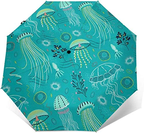 Ombrello parasole automatico a tre pieghe da spiaggia nautica con stampa esterna