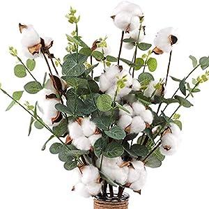 Unionm Leaves Cotton Artificial Flowers Summer Faux Flower Stems for Farmhouse Home Ornament Photographing Arrangement Wedding Decor Mother's Day Valentine (White)