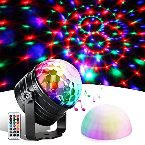 Luz Discoteca y Luz nocturna, Bola de Discoteca con Ritmo de Sonido, 7 Colores RGB, Control Remoto y Función de Temporizador, luces discoteca Giratoria para Niños Navidad, Cumpleaños