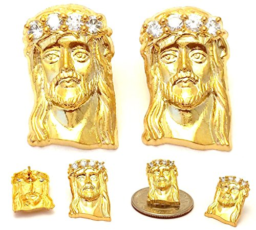 Mens Hip Hop 18k Yellow Gold Finish 925 Sterling Silver Jesus Face Stud Earrings