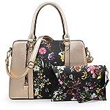 Women Handbags, Large Designer Lady Satchel Multi-Pockets Shoulder Bag Fashion Tote w/ Wallet Set (8011-GD/BKF)