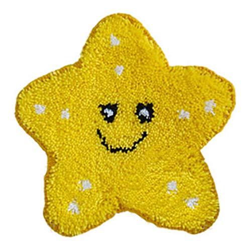 LFTYV Kits De Gancho De Pestillo para Adultos, Kits De Hilo De Crochet De Cojín Sin Terminar con Kit De Bordado De Patrón De Lona Impreso para Decoración del Hogar, Estrella De Cinco Puntas