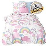 Aminata Kids Fantasy Einhorn-Bettwäsche 135 x 200 cm Mädchen + 80 x 80 cm Kopfkissen aus Baumwolle...