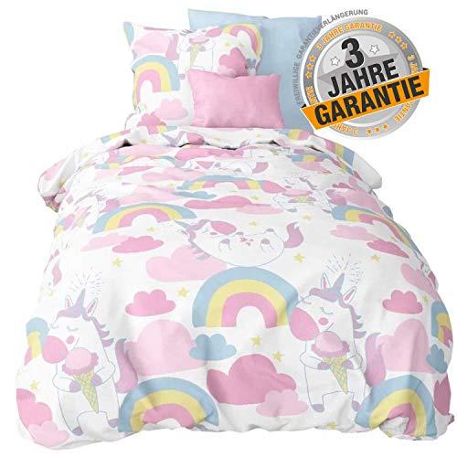 Aminata Kids Fantasy Einhorn-Bettwäsche 135 x 200 cm Mädchen + 80 x 80 cm Kopfkissen aus Baumwolle mit Reißverschluss, unsere Kinder-Bettwäsche-Set mit Einhorn-Motiv ist weich & kuschelig, Unicorn