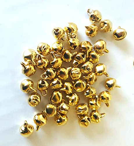 k2-accessories 100 pieces 6mm Gold Plated Metal Jingle Bells - A8178 / 6mm
