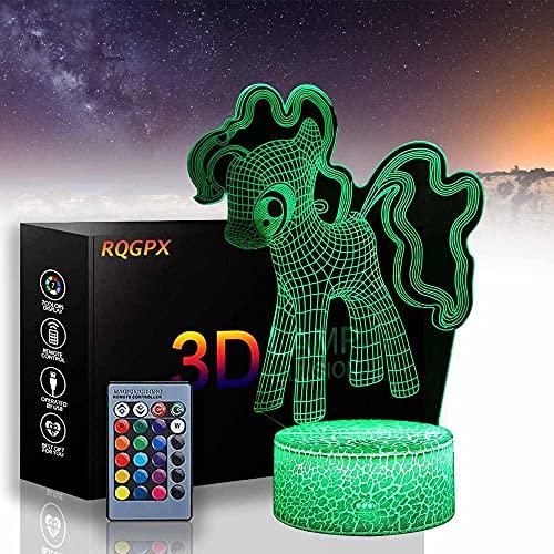 Lámpara de ilusión 3D Pinkie Pie Creatividad Luz de Noche 16 Color Luz de Aire Caliente Globo Noche Luz para Cumpleaños Decoración Regalo
