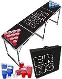 Original Cup - Set de Mesa de Beer Pong, 1 x Mesa de Beer Pong + 120 x Vasos (60 Rojos y 60 Azules) + 6 x Bolas, Dimensiones Oficiales 240 x 60 x 70 cm - Negro