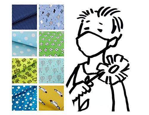 Mund- & Nasenmaske – Kind/Teen JUNGEN - Motiv Design Muster- 100{9777c348446a2eba033ba3f3a845ffb4289f63b780d6488582b264a1cf570207} Baumwolle 2-lagig Waschbar Handgenäht - Alltagsmaske; Behelfs-mundschutz; Gesichts-maske