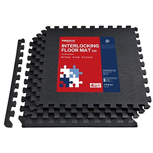 PROIRON Esterilla Puzzle de Fitness Alfombra EVA Espuma para Máquinas de Deporte y Gimnasios 60 x 60 x 1.2 cm (4 Piezas)