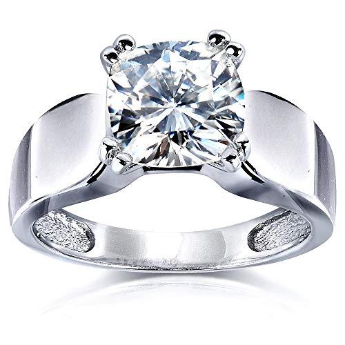 Kobelli Cushion-cut Moissanite Solitaire Engagement Ring 2 CTW 14k White Gold, Size 6.5