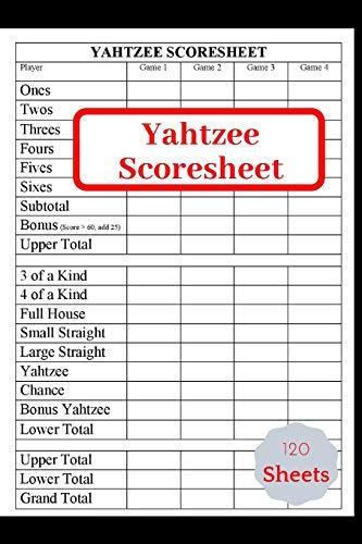 Yahtzee Scores Sheets: Game Yahtzee,Yahtzee record Score Keeper Book,Yahtzee Scorebook , gift for yahtzee players, Size = 8.5 inches x 11 inches