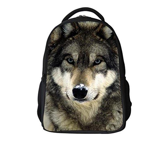 Zaino della scuola di lupo 3D per zaini di computer portatile borsa scuola dignolo animale stampa degno