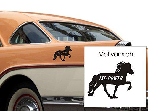 blattwerk-design KFZ-Aufkleber, ISI-Power, Isländer, Pferd, Autoaufkleber, Verschiedene Größen und Farben zur Auswahl (M090 Silber, 100 mm x 130 mm)
