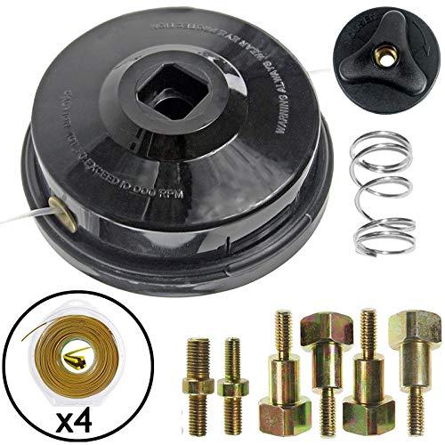 Spares2go - Cabezal de alimentación manual universal de doble línea con pernos + 2,4 mm x 80 m de doble núcleo 4 para desbrozadora / cortadora de escobillas