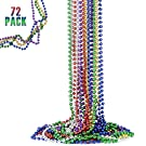 FAVONIR Colorful Assorted Beaded Necklace 72 Pack of Metallic RoundMardi Gras Costume Necklace Accessory 33 Inch 7 mm– for Events and Party Favor Novelty