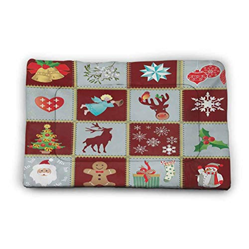 Ahuimin Angel Pet Mat Christmas Tree Reindeers Noel Santa Presents Snowman Pine Tree Traditional Comfy Pet Washable Mat Blanket 40' x 27' Burgundy Blue Grey