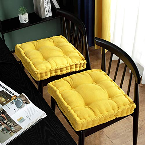 QSCV Soft Square Chair Pad,Decor Thicken Floor Pillow,Home Dining Cushion Solid Cordury Seat Cushion for Office Sofa Balcony-Yellow 16' inch
