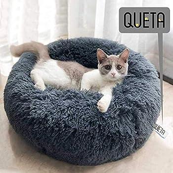 Queta Panier Rond Chien Coussin Chat Panier Donut extérieure Panier en Peluche Douce pour Chat et Chiens (50cm, Gris)