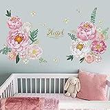 Runtoo Pegatinas de Pared Flores Stickers Adhesivos Vinilo Peonía Rosa Decorativas Infantiles Habitacion Bebe