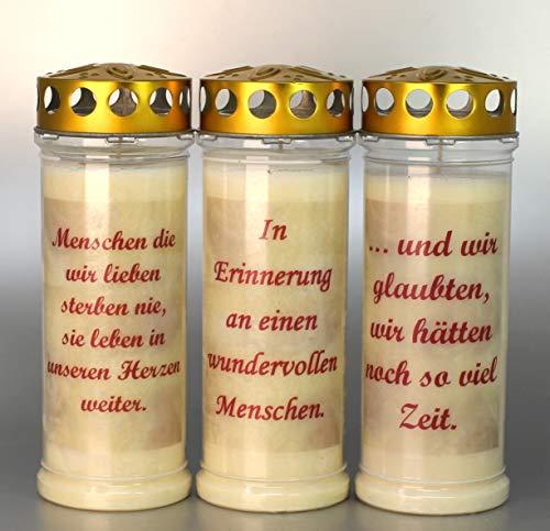 Kerzen Junglas 3 Grablichter, Grabkerzen, 3er Set- 21x7,5 cm - 3891 - ca. 7 Tage Brenndauer je Grablicht – Trauerkerze mit Spruch - Motivkerze - Gedenkkerze
