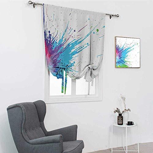 GugeABC Abat-jour abstrait pour fenêtre d'inspiration grunge avec différentes peintures colorées avec un fond blanc tendu assombrissement des tons romains, blanc turquoise, 76,2 x 162,6 cm