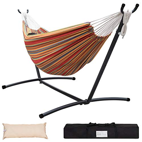 Lazy Daze Hammocks Double Hammock with Space Saving Steel Stand Includes Portable Carrying Case and Head Pillow, 450 Pounds Capacity (Red&Yellow)