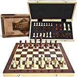 15' Wooden Chess Set: Magnetic Universal Standard Board Game for All Ages | Well Crafted Chess Board and Pieces with Secure Storage for Pieces | Play Like a King Carrying a Unique Chess Package