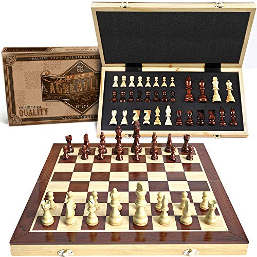 Wooden Chess Set: Magnetic Universal Standard Board Game for All Ages | Well Crafted Chess Board and Pieces with Secure Storage for Pieces | Play Like a King Carrying a Unique Chess Package