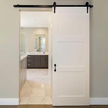 ECD Germany Sistema Puerta corredera 244 cm Negro en acero al carbono - Sistema de puerta corredera - 244 cm - Negro - Para puertas de madera - Riel deslizante + accesorios montaje: Amazon.es: Bricolaje y herramientas
