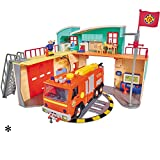 Feuerwehrmann Sam Neue Feuerwehrstation mit Figur, Drehscheibe, Licht und Sound • Feuerwehr Station Feuerwache Spiel Set Feuerwehrhaus