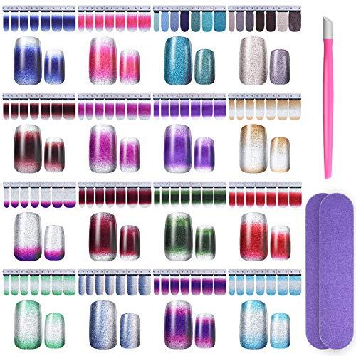Nagelfolie Selbstklebend, 224 PCS Glitzer Nagellack zum Aufkleben mit 2 Nagelfeilen und Einem Gummi Nagel Nagelhautschieber