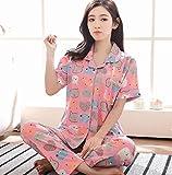 DFDLNL Pijama de Manga Corta de Verano para Mujer, Pantalones de Dos Piezas de...