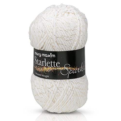 "Mary Maxim Starlette Sparkle Yarn ""White"" 