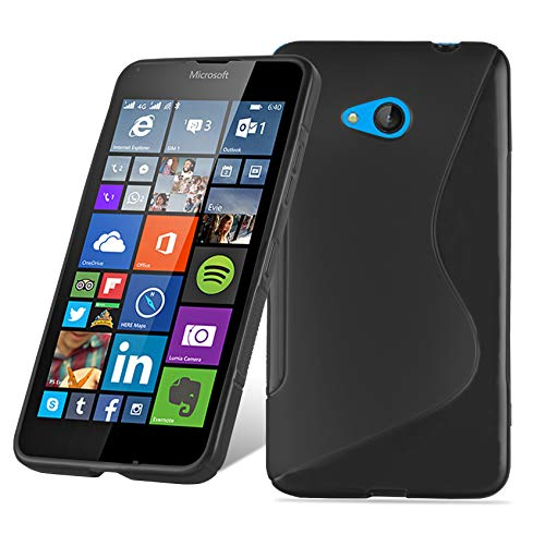 Cadorabo Hülle für Nokia Lumia 650 - Hülle in Oxid SCHWARZ – Handyhülle aus flexiblem TPU Silikon im S-Line Design - Silikonhülle Schutzhülle Soft Back Cover Hülle Bumper