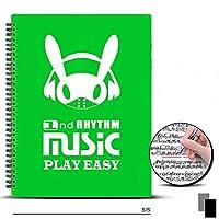 ミュージックスコアフォルダーA4サイズミュージックスコアボックス直筆デザインミュージックスタンド優れた収納容量ライティングリングフォルダー会議資料20/30ページブラック (30ページ,グリーン)