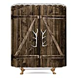 Riyidecor Extra Long Barn Door Shower Curtain Wooden Garage Rustic Farmhouse 72Wx84H Inch 12 Pack Metal Hooks Vintage Country Decor Fabric Bathroom Polyester Waterproof