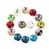 Blinginbox - Strass rotondi Rivoli in cristallo di colore misto, da cucire con artiglio fondo argentato 8 mm Colori misti