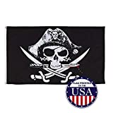 Vispronet Jolly Roger Pirate Flag Collection – Dead Mans Chest – 3ft x 5ft Knitted Polyester Flag – Made in The USA