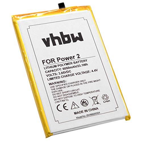 vhbw Batería Recargable Compatible con Ulefone Power 2 móvil, Smartphone (6050 mAh, 3,85 V, polímero de Litio)