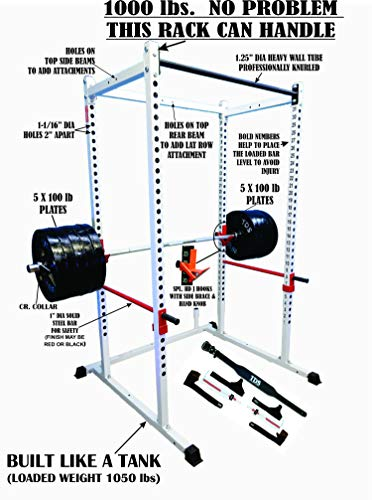 "TDS Mega 1000 lb Rated White Power Rack, 1.25"" Dia knurled Front Chinning Bar, Padded Leather Belt, Leather Lifting Gloves, Elbow Wraps & Power Claws Package."