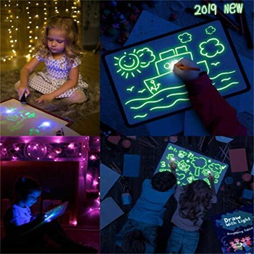 A3 Pizarra Luminosa Pizarras mágicas para niños Tablero de Dibujo Draw LED con el Tablero de Dibujo Fluorescente Juguete luz Dibujar con la luz Diversión Magia educativa Draw Regalo de los Cabritos