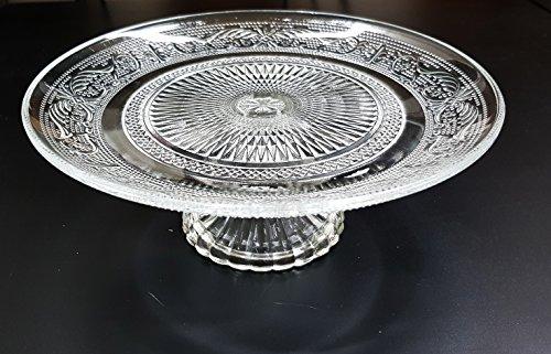 takestop® Alzata TORTIERA in Cristallo Decorato 25 CM Diametro Vetro Porta Torta ALZATINA Vassoio Torte Dolci