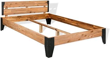 vidaXL Acacia Cama 140x200 cm Madera Acero Somier Mueble Mobiliario Dormitorio