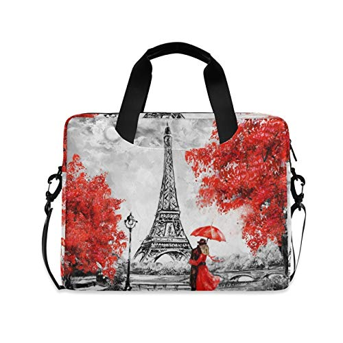 Laptp Case Oil Painting Paris Lovers Laptop Bag 15.6 inch 360° Protective Computer Bag with Shoulder Strap for Men Women