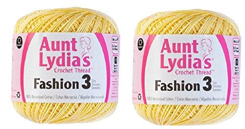 Aunt Lydia's Crochet Thread - Size 3 - (2-Pack) Maize