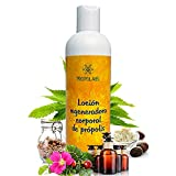 Locion corporal 100% natural - 300 ml - Certificación BIO. Crema reafirmante, regeneradora e hidratante con propoleo, karite, rosa mosqueta, cáñamo y aceites esenciales aromaterapeuticos.
