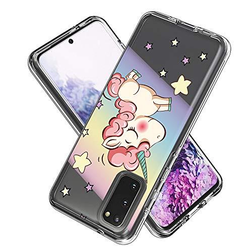 FAWUMAN Hülle für Samsung Galaxy S20 (6.2inch,(Hartplastik Weich TPU Silikon Bumper) Ultradünne Stoßfest Schutzhülle Transparent Cover Case (Regenbogenpferd)